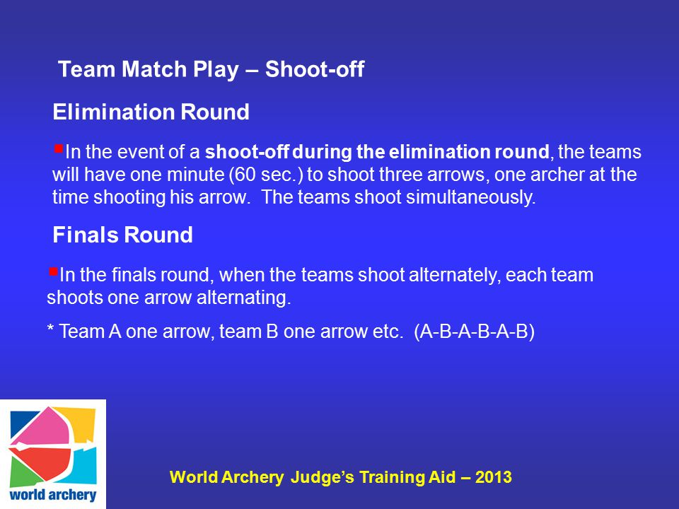 World Archery Judge's Training Aid – 2013  In the event of a shoot-off during the elimination round, the teams will have one minute (60 sec.) to shoo