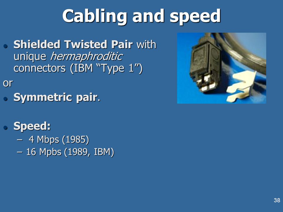 """38 Cabling and speed l Shielded Twisted Pair with unique hermaphroditic connectors (IBM """"Type 1"""") or l Symmetric pair. l Speed: – 4 Mbps (1985) –16 Mp"""