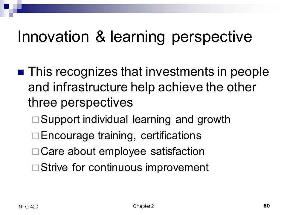 Chapter 260 INFO 420 Innovation & learning perspective This recognizes that investments in people and infrastructure help achieve the other three pers