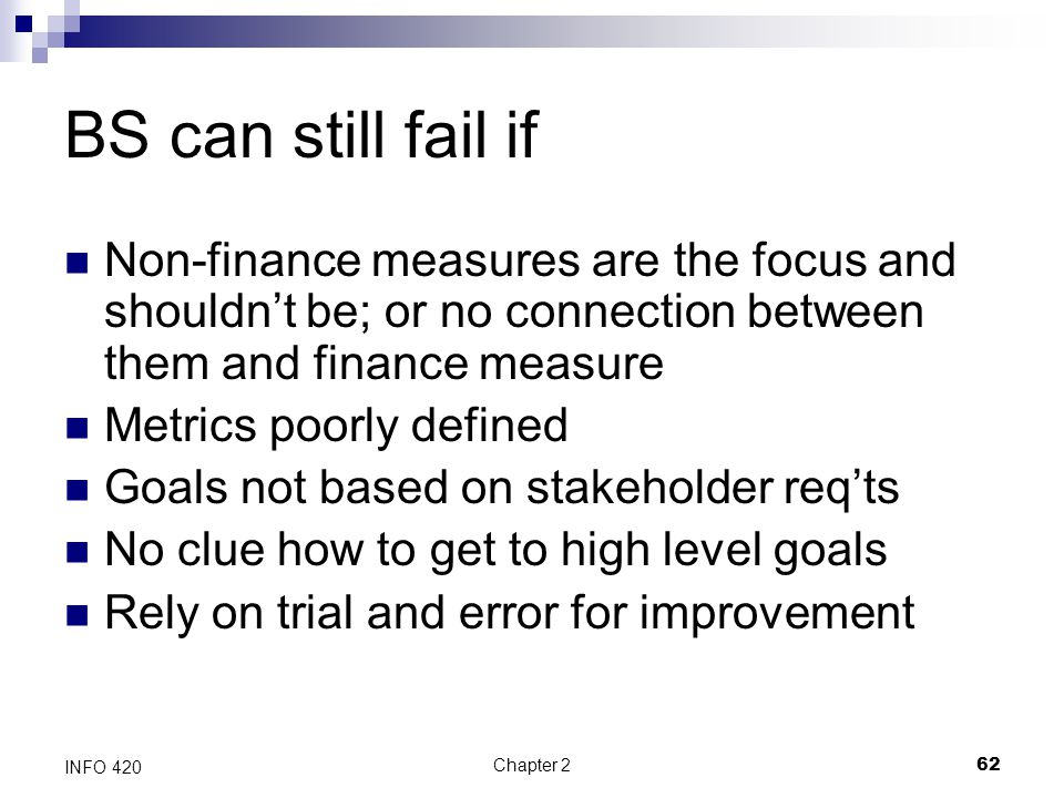 Chapter 262 INFO 420 BS can still fail if Non-finance measures are the focus and shouldn't be; or no connection between them and finance measure Metri