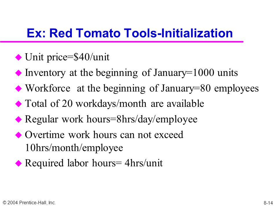 © 2004 Prentice-Hall, Inc. 8-14 Ex: Red Tomato Tools-Initialization u Unit price=$40/unit u Inventory at the beginning of January=1000 units u Workfor