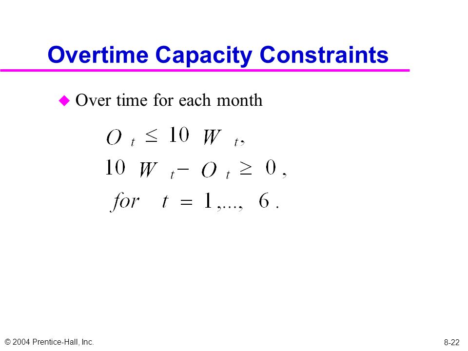 © 2004 Prentice-Hall, Inc. 8-22 Overtime Capacity Constraints u Over time for each month