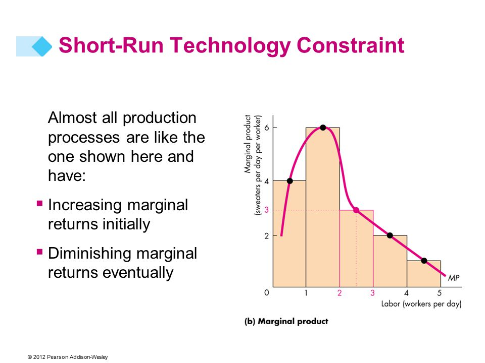Almost all production processes are like the one shown here and have:  Increasing marginal returns initially  Diminishing marginal returns eventually Short-Run Technology Constraint