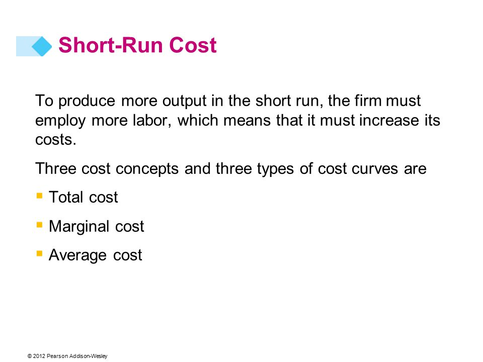 © 2012 Pearson Addison-Wesley Short-Run Cost To produce more output in the short run, the firm must employ more labor, which means that it must increase its costs.