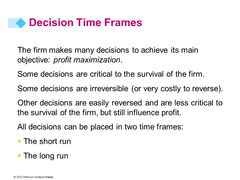 © 2012 Pearson Addison-Wesley The firm makes many decisions to achieve its main objective: profit maximization. Some decisions are critical to the sur