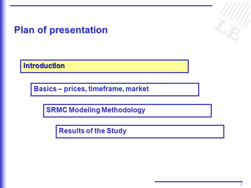 2 Plan of presentation Introduction Basics – prices, timeframe, market Results of the Study SRMC Modeling Methodology