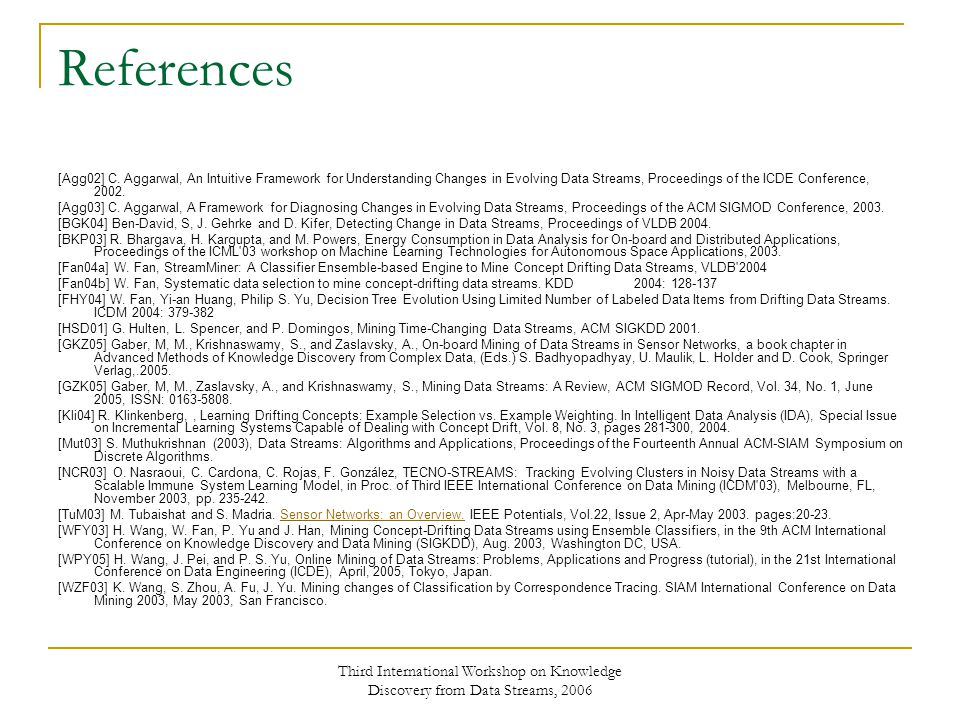 Third International Workshop on Knowledge Discovery from Data Streams, 2006 References [Agg02] C.