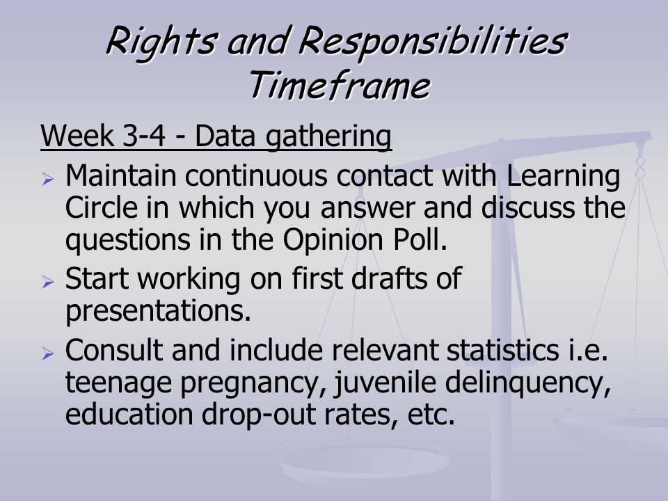 Rights and Responsibilities Timeframe Week 3-4 - Data gathering   Maintain continuous contact with Learning Circle in which you answer and discuss t