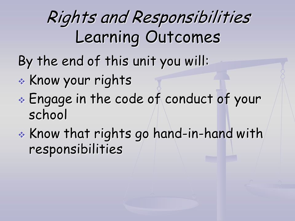 Rights and Responsibilities Learning Outcomes By the end of this unit you will:  Know your rights  Engage in the code of conduct of your school  Kn