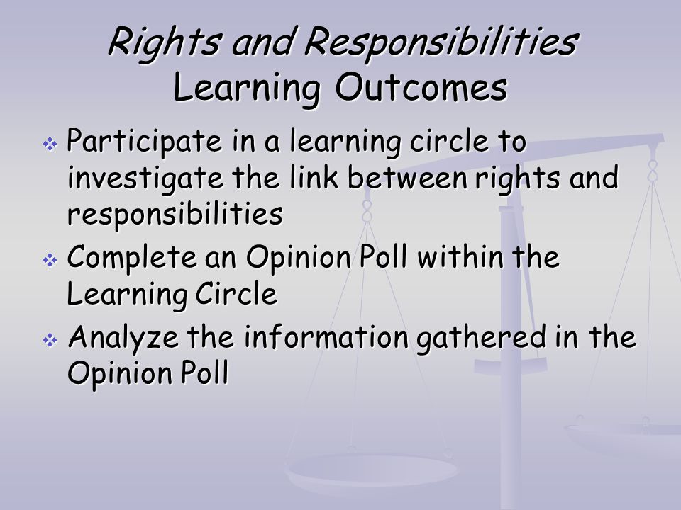Rights and Responsibilities Learning Outcomes  Participate in a learning circle to investigate the link between rights and responsibilities  Complet