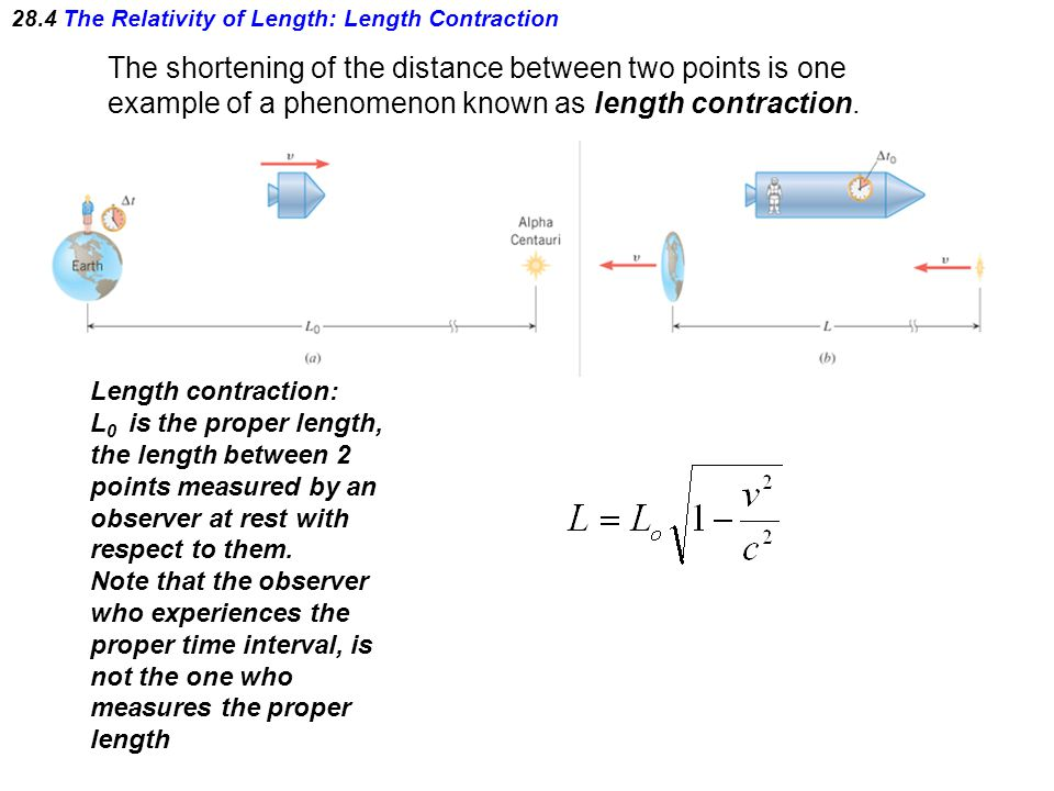 28.4 The Relativity of Length: Length Contraction The shortening of the distance between two points is one example of a phenomenon known as length con