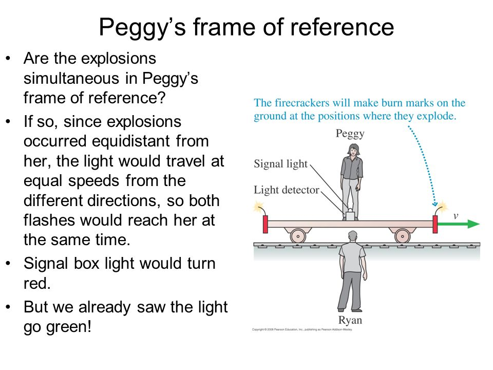 Peggy's frame of reference Are the explosions simultaneous in Peggy's frame of reference? If so, since explosions occurred equidistant from her, the l