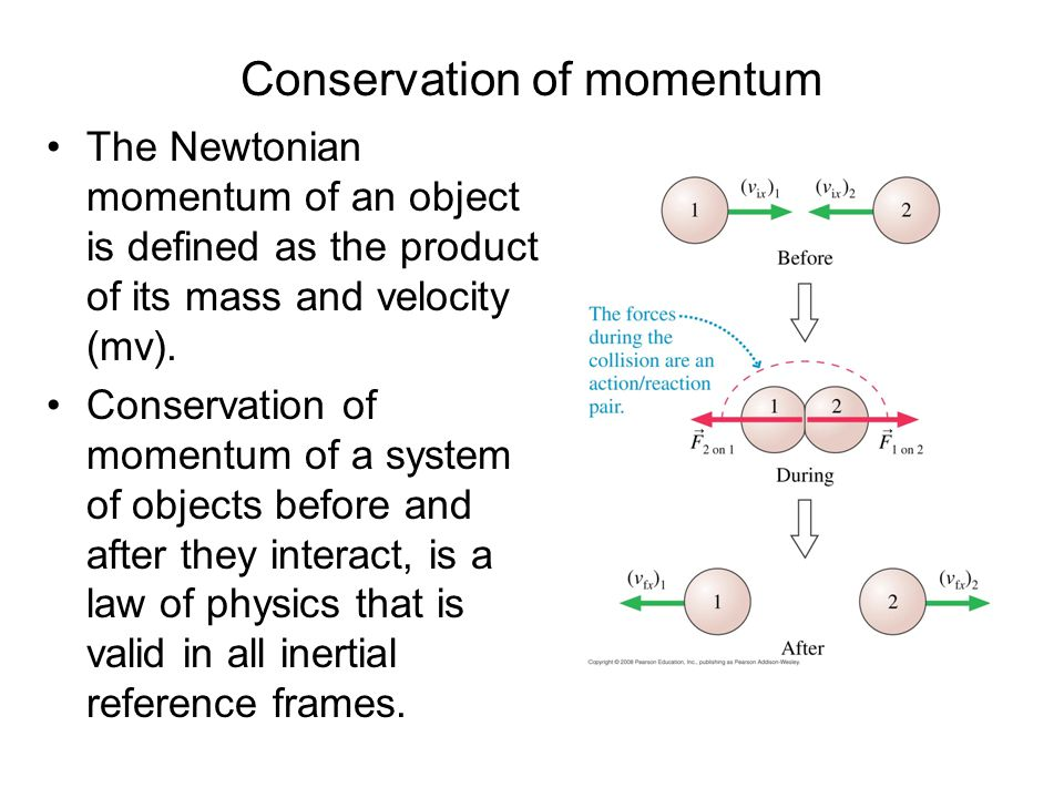 Conservation of momentum The Newtonian momentum of an object is defined as the product of its mass and velocity (mv). Conservation of momentum of a sy