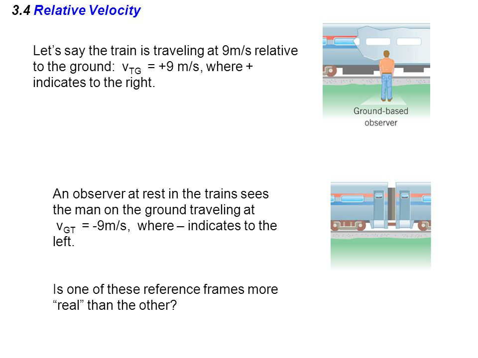 3.4 Relative Velocity Let's say the train is traveling at 9m/s relative to the ground: v TG = +9 m/s, where + indicates to the right. An observer at r