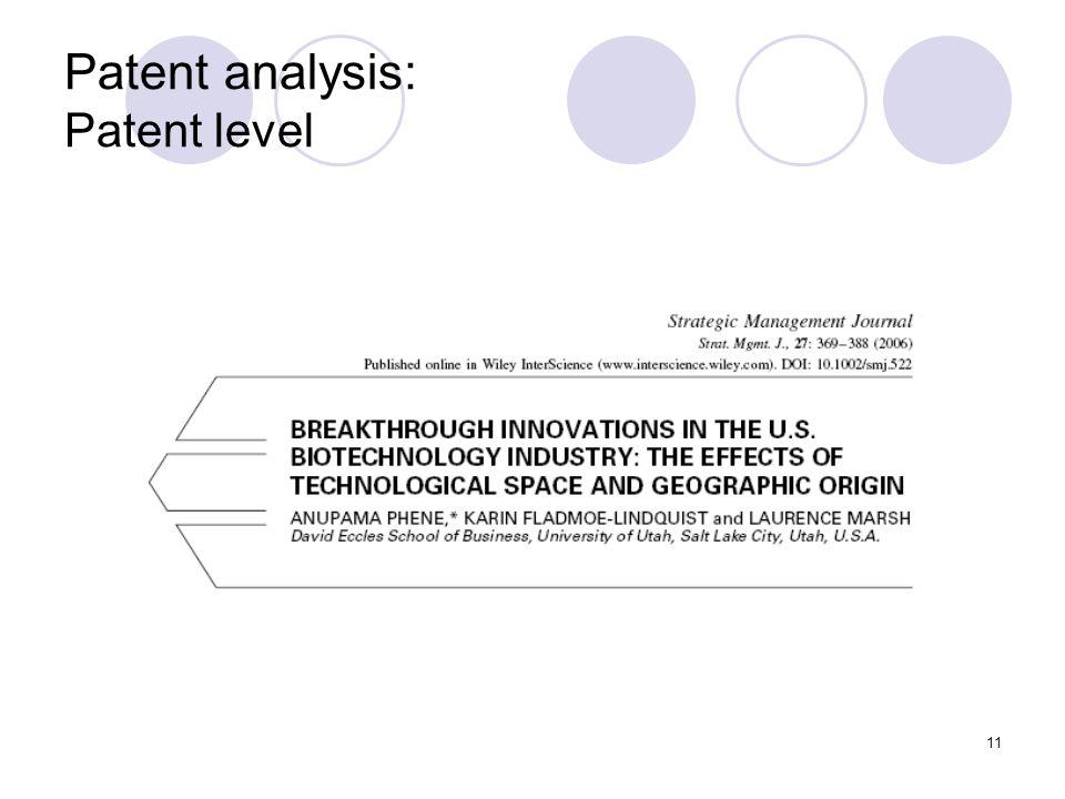 11 Patent analysis: Patent level
