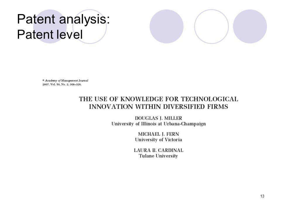13 Patent analysis: Patent level