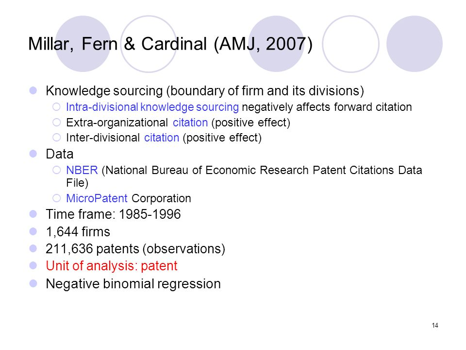 14 Millar, Fern & Cardinal (AMJ, 2007) Knowledge sourcing (boundary of firm and its divisions)  Intra-divisional knowledge sourcing negatively affects forward citation  Extra-organizational citation (positive effect)  Inter-divisional citation (positive effect) Data  NBER (National Bureau of Economic Research Patent Citations Data File)  MicroPatent Corporation Time frame: 1985-1996 1,644 firms 211,636 patents (observations) Unit of analysis: patent Negative binomial regression