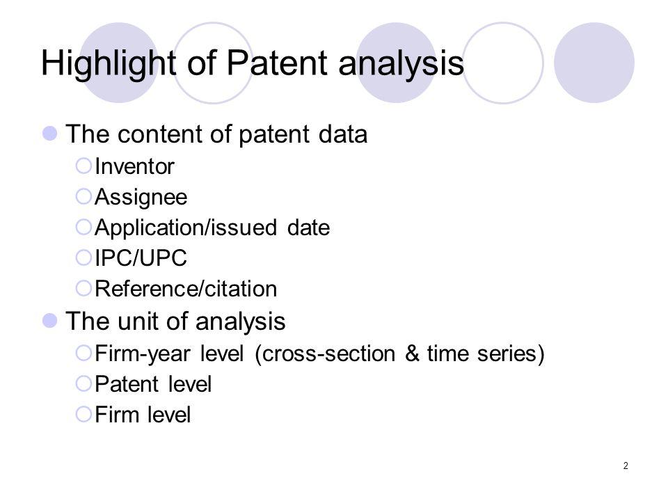 3 The content of patent data Backward citation IPC UPC