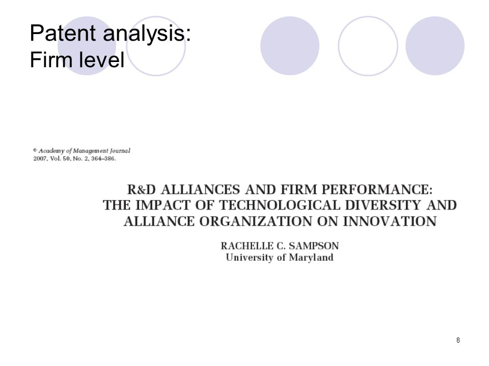 8 Patent analysis: Firm level