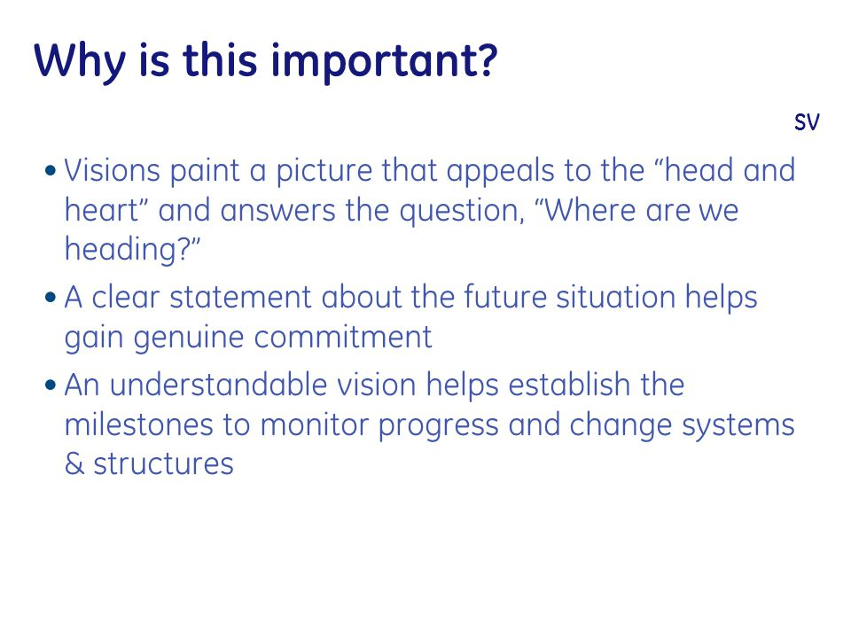 """Why is this important? SV Visions paint a picture that appeals to the """"head and heart"""" and answers the question, """"Where are we heading?"""" A clear state"""