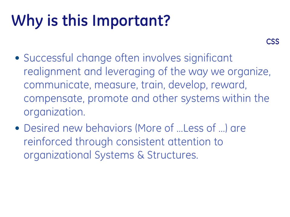Why is this Important? CSS Successful change often involves significant realignment and leveraging of the way we organize, communicate, measure, train