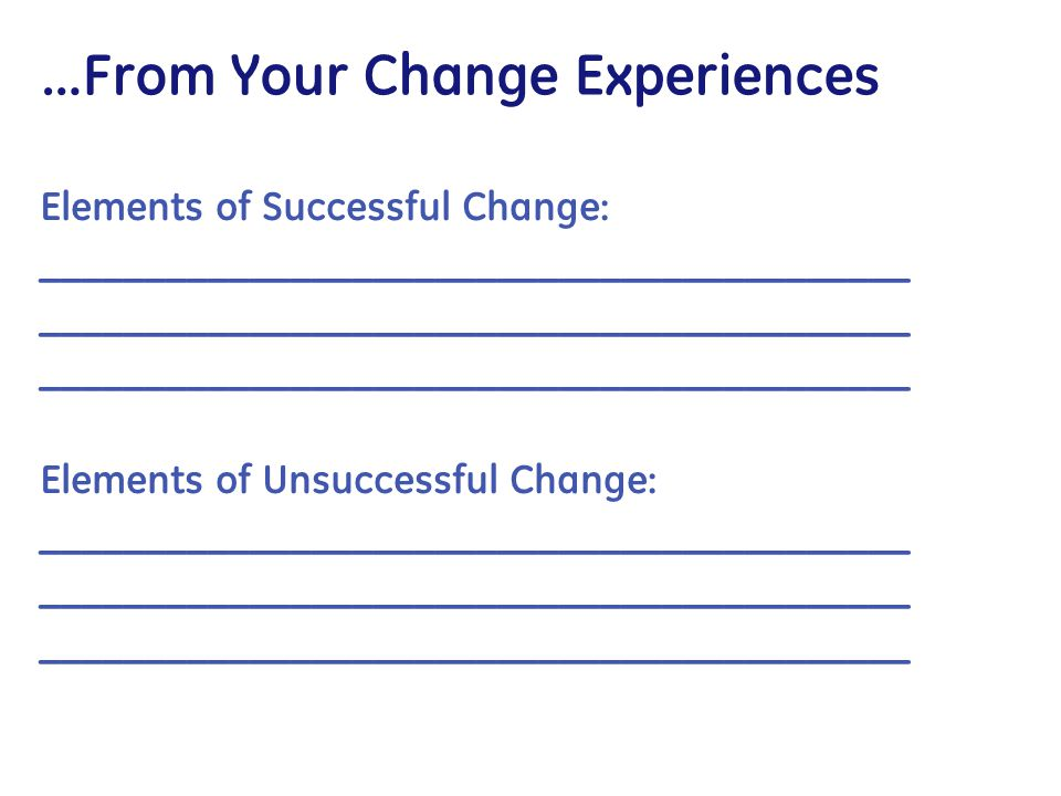 …From Your Change Experiences Elements of Successful Change: __________________________________________ Elements of Unsuccessful Change: _____________