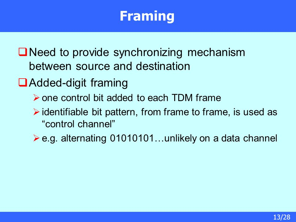 13/28 Framing  Need to provide synchronizing mechanism between source and destination  Added-digit framing  one control bit added to each TDM frame  identifiable bit pattern, from frame to frame, is used as control channel  e.g.