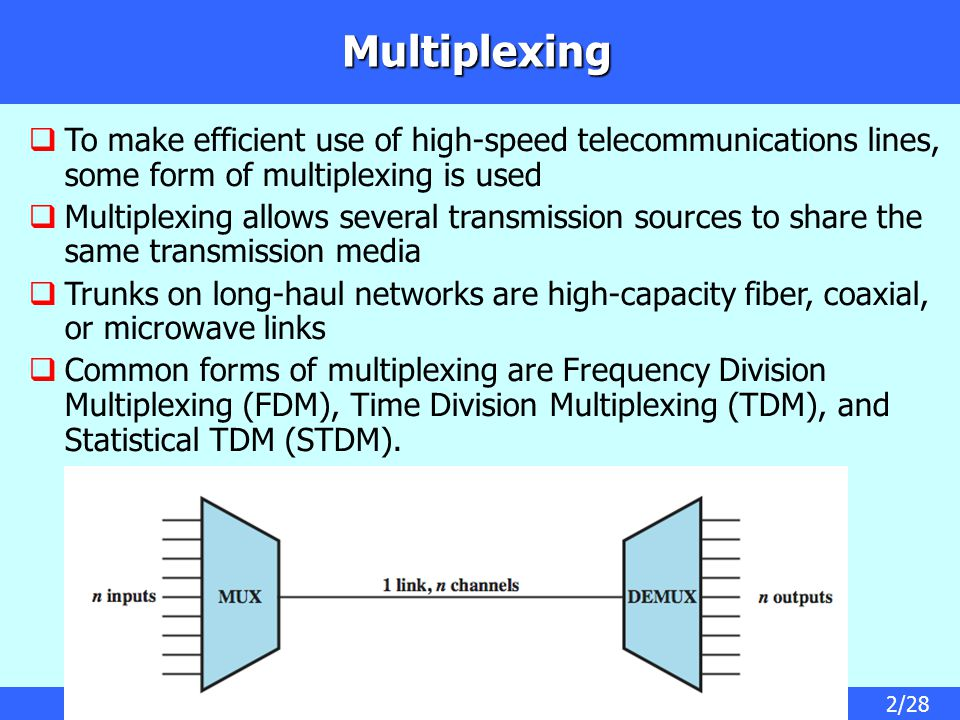 2/28 Multiplexing  To make efficient use of high-speed telecommunications lines, some form of multiplexing is used  Multiplexing allows several transmission sources to share the same transmission media  Trunks on long-haul networks are high-capacity fiber, coaxial, or microwave links  Common forms of multiplexing are Frequency Division Multiplexing (FDM), Time Division Multiplexing (TDM), and Statistical TDM (STDM).