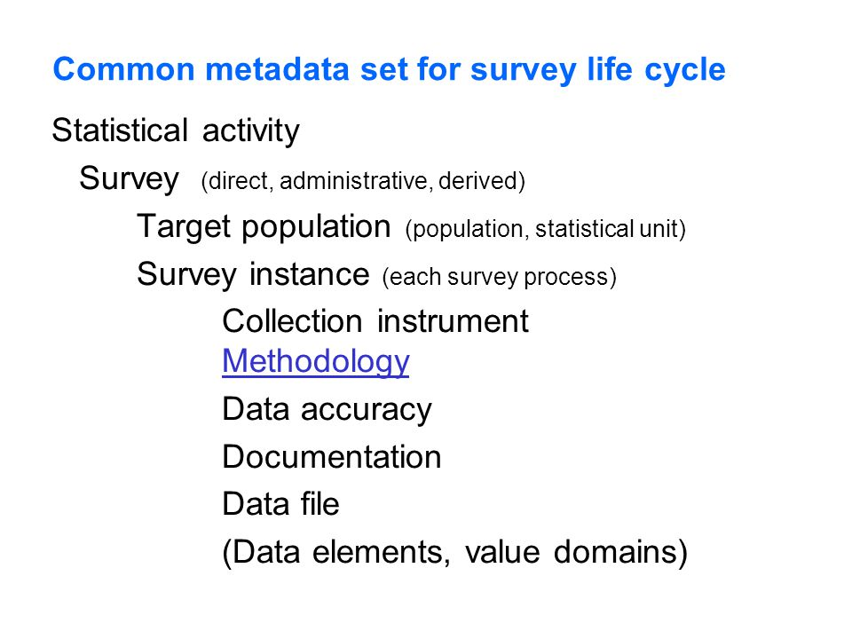 Common metadata set for survey life cycle Statistical activity Survey (direct, administrative, derived) Target population (population, statistical unit) Survey instance (each survey process) Collection instrument Methodology Methodology Data accuracy Documentation Data file (Data elements, value domains)