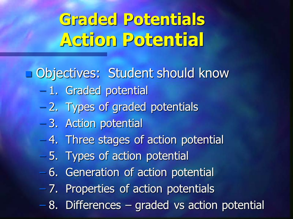 Types of Graded Potentials n 2.Specific types of graded potentials –a.