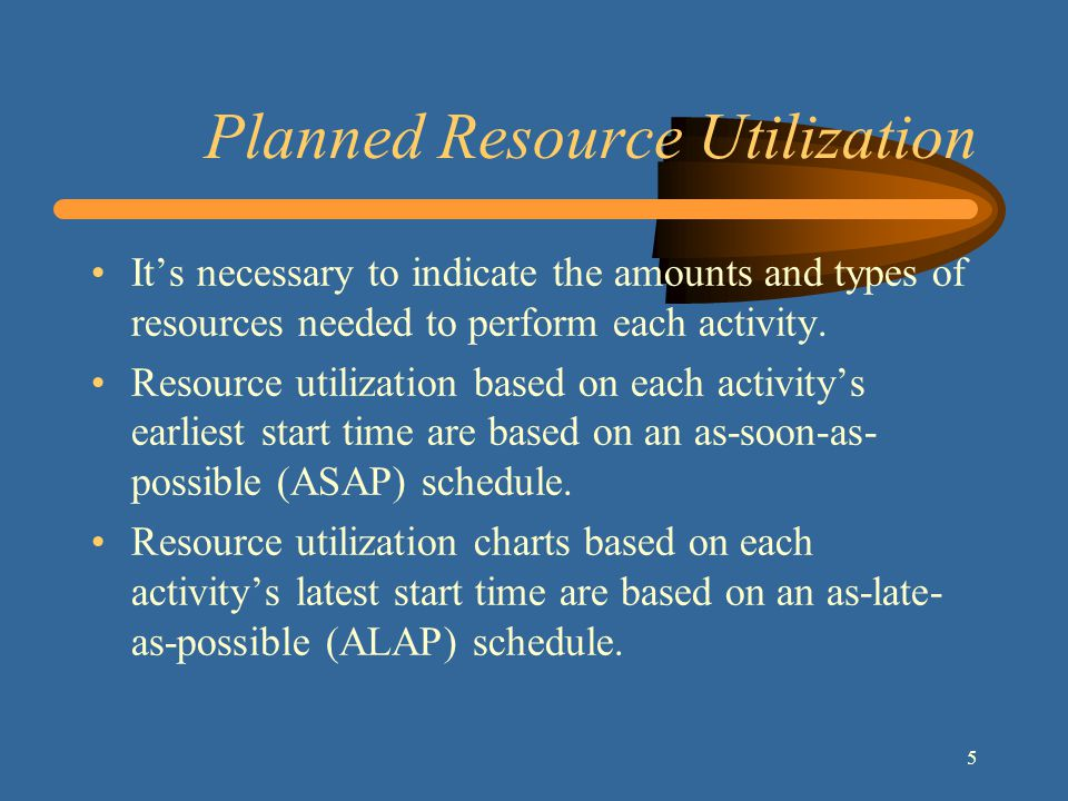 6 Resource Leveling Resource leveling, or smoothing, is a method for developing a schedule that attempts to minimize the fluctuations in requirements for resources.