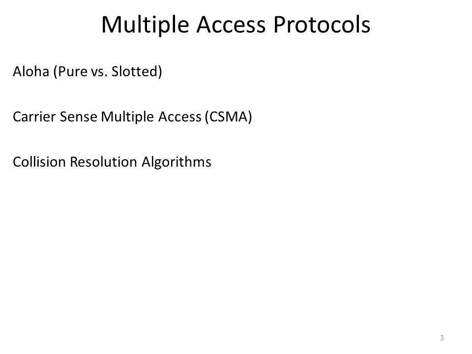 Multiple Access Protocols Aloha (Pure vs.