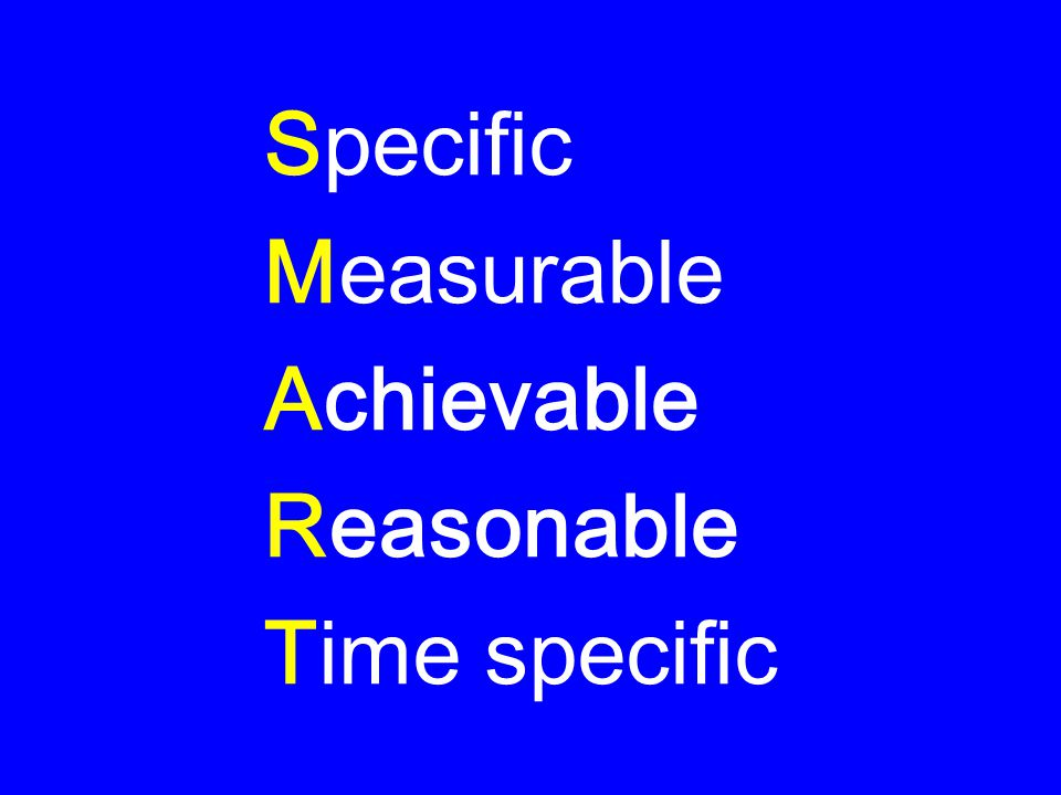 Specific Measurable Achievable Reasonable Time specific