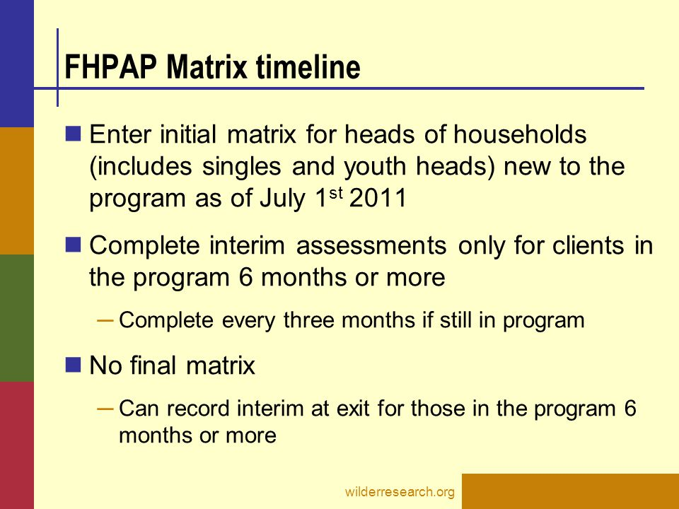 FHPAP Matrix timeline Enter initial matrix for heads of households (includes singles and youth heads) new to the program as of July 1 st 2011 Complete