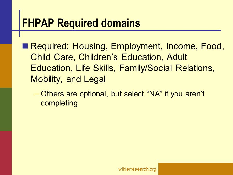 FHPAP Required domains Required: Housing, Employment, Income, Food, Child Care, Children's Education, Adult Education, Life Skills, Family/Social Rela