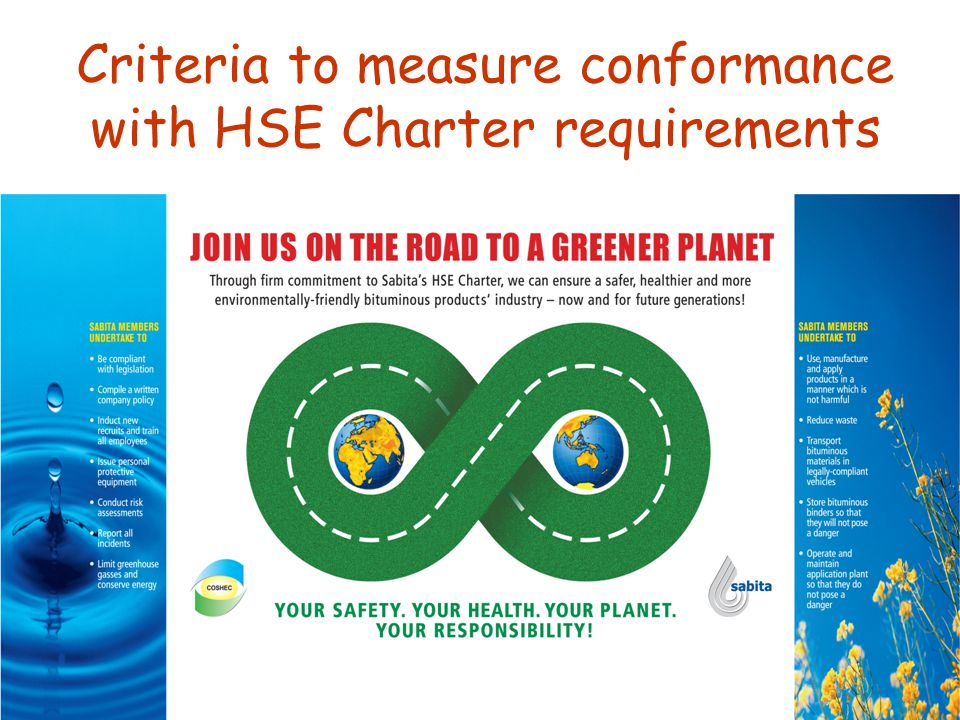 Criteria to measure conformance with HSE Charter requirements