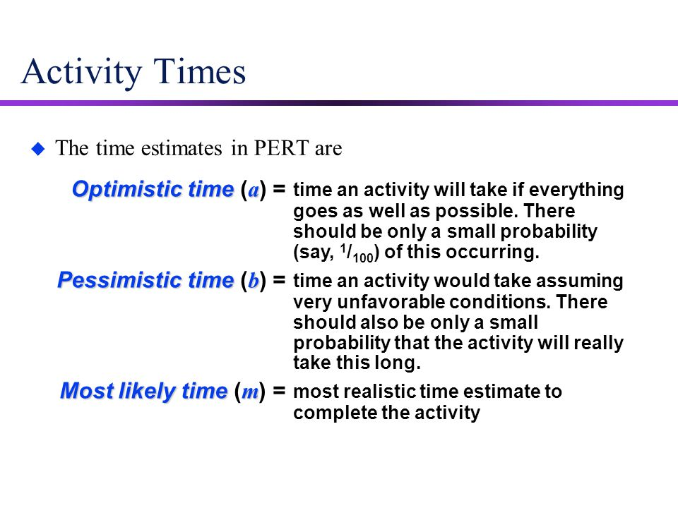 Activity Times u The time estimates in PERT are Optimistic time a Optimistic time ( a ) = time an activity will take if everything goes as well as pos