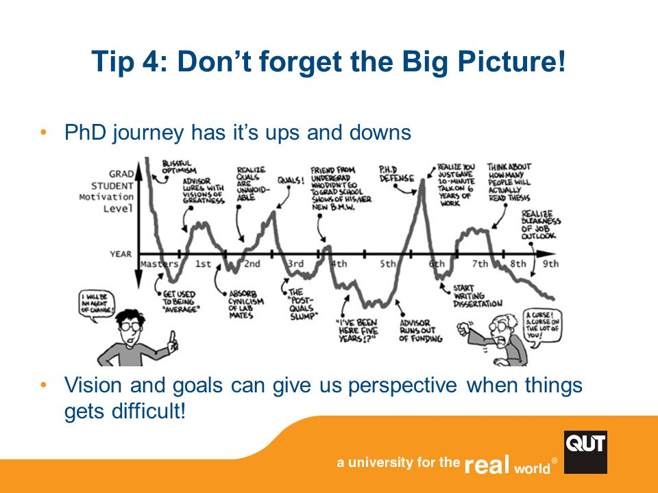 Tip 4: Don't forget the Big Picture! PhD journey has it's ups and downs Vision and goals can give us perspective when things gets difficult!