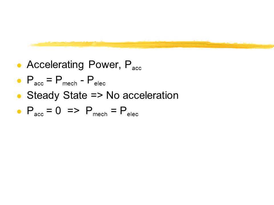 l Accelerating Power, P acc l P acc = P mech - P elec l Steady State => No acceleration l P acc = 0 => P mech = P elec