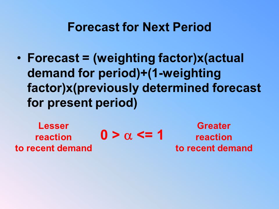 Forecast for Next Period Forecast = (weighting factor)x(actual demand for period)+(1-weighting factor)x(previously determined forecast for present period) 0 >  <= 1 Lesser reaction to recent demand Greater reaction to recent demand