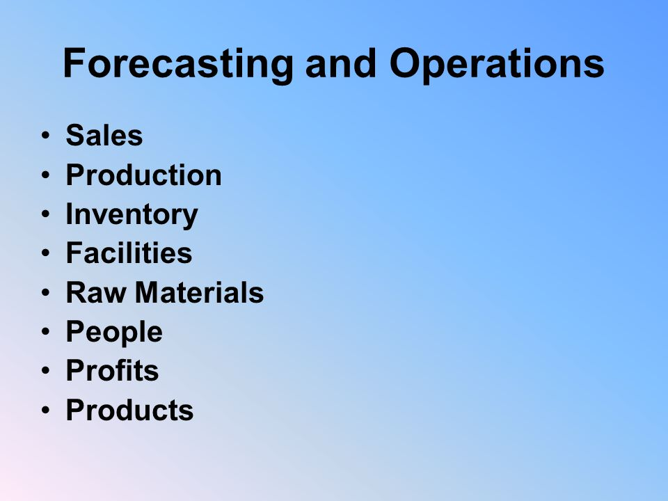 Forecasting and Operations Sales Production Inventory Facilities Raw Materials People Profits Products