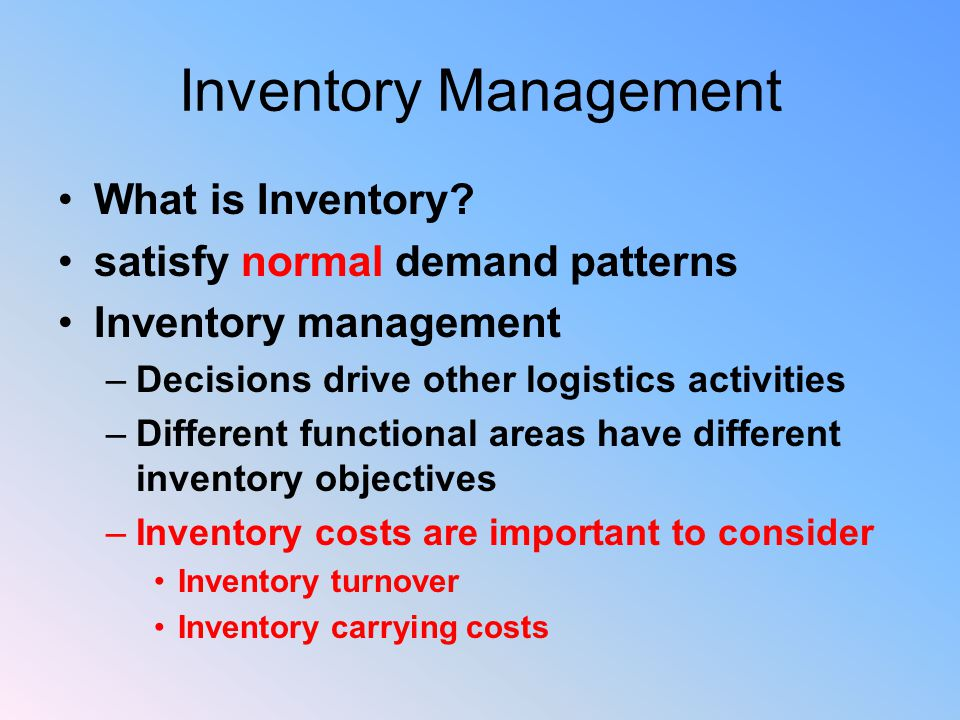 Inventory Management What is Inventory.
