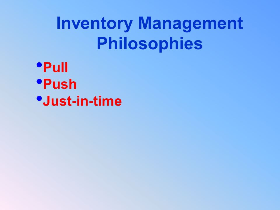 Pull Push Just-in-time Inventory Management Philosophies