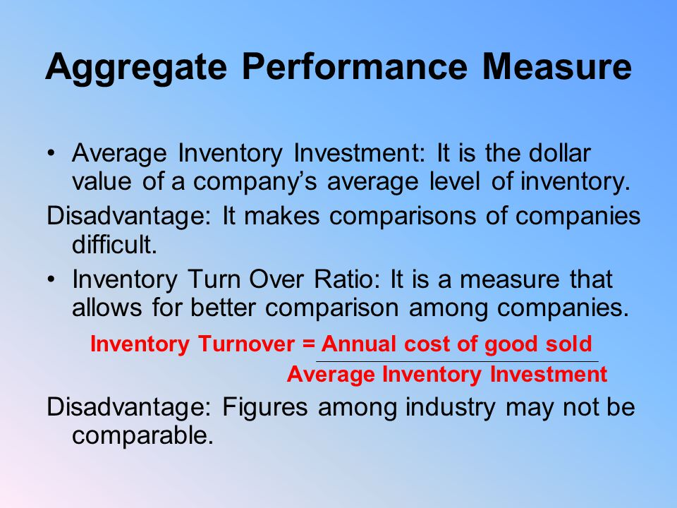 Aggregate Performance Measure Average Inventory Investment: It is the dollar value of a company's average level of inventory.