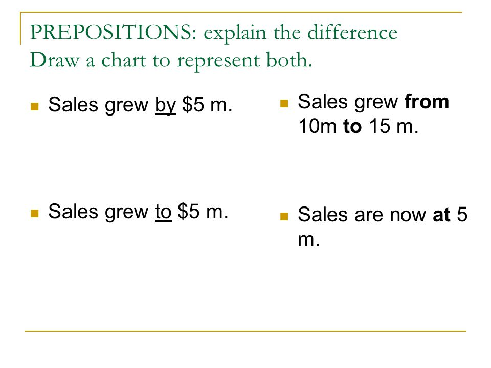 Prepositions N + of + #(change)  A growth of 78% V + by + #(change)  Sales grew by 78% V + to + #(destination)  Sales grew to $15m Current position on a graph/standing: at  Sales are currently standing at 15m.