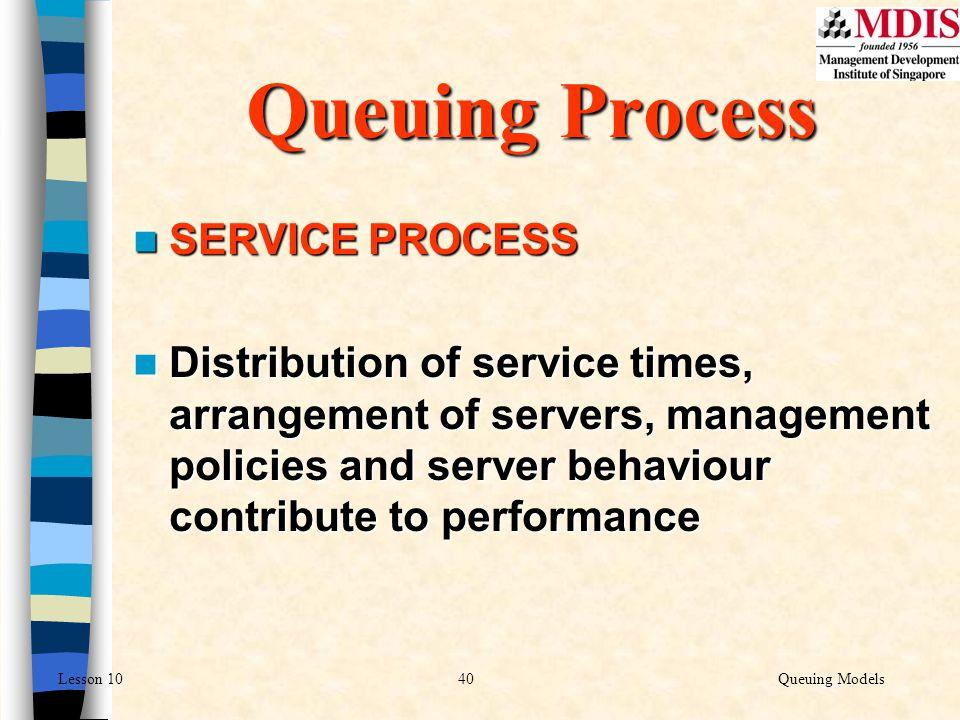40Queuing ModelsLesson 10 SERVICE PROCESS SERVICE PROCESS Distribution of service times, arrangement of servers, management policies and server behavi