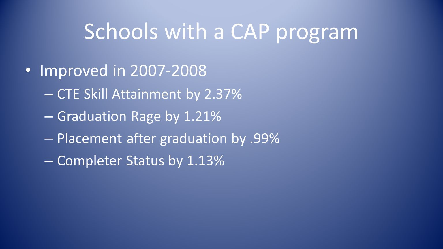 Schools with a CAP program Improved in 2007-2008 – CTE Skill Attainment by 2.37% – Graduation Rage by 1.21% – Placement after graduation by.99% – Completer Status by 1.13%