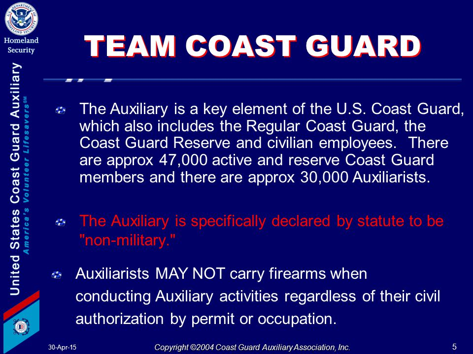 30-Apr-15 5 Copyright ©2004 Coast Guard Auxiliary Association, Inc.