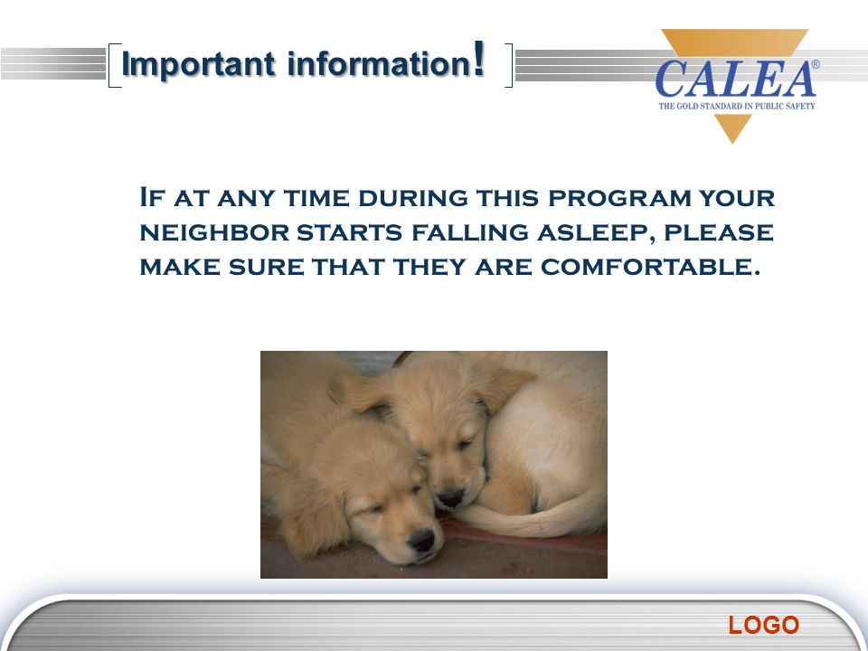 LOGO Important information ! If at any time during this program your neighbor starts falling asleep, please make sure that they are comfortable.