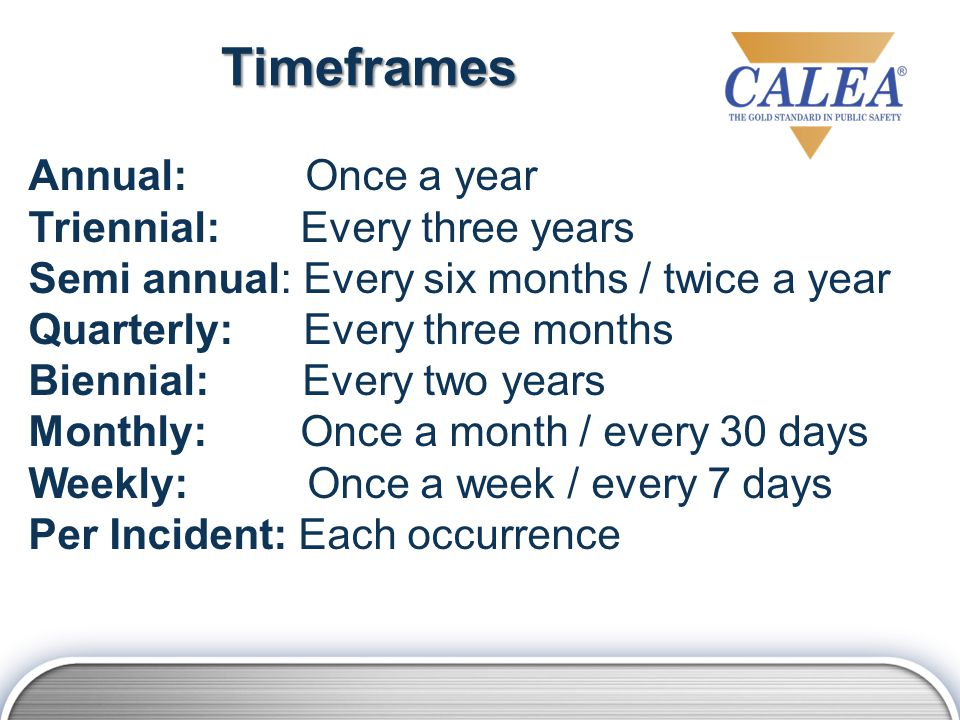 Timeframes Annual: Once a year Triennial: Every three years Semi annual: Every six months / twice a year Quarterly: Every three months Biennial: Every two years Monthly: Once a month / every 30 days Weekly: Once a week / every 7 days Per Incident: Each occurrence